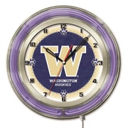 Holland Bar Stool NCAA 19'' Neon Clock; Washington Huskies