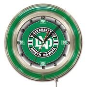 Holland Bar Stool NCAA 19'' Neon Clock; North Dakota Fighting Hawks
