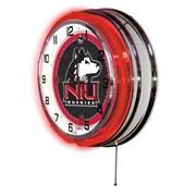 Holland Bar Stool NCAA 19'' Neon Clock; Northern Illinois Huskies