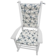 Barnett Home Decor Coastal Outdoor Rocking Chair Cushion; Blue / White