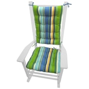 Barnett Home Decor Coastal Outdoor Rocking Chair Cushion; Blue / Green / Yellow