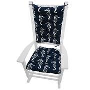 Barnett Home Decor Coastal Outdoor Rocking Chair Cushion; Blue / White