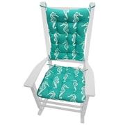 Barnett Home Decor Coastal Outdoor Rocking Chair Cushion; Aqua / White
