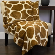 Sweet Home Collection Giraffe Print Plush Faux Fur Throw