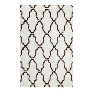 Simple Luxury Superior Trellis Hand-Woven Ivory/Chocolate Area Rug; 5' x 8'