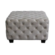 Home Loft Concepts Barrett Tufted Velvet Ottoman; Light Gray