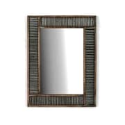 Wilco Home Smokey Cabin Corrugated Tin with Wood Frame Wall Mirror