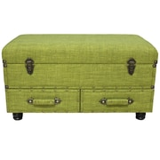River of Goods Linen Layton Storage Trunk; Green
