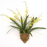Distinctive Designs Silk Oncidium Orchids in a Summerdale Acanthus Wall Sconce