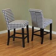 Monsoon Pacific Milan Houndstooth 26'' Bar Stool (Set of 2); Black
