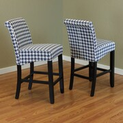 Monsoon Pacific Milan Houndstooth 26'' Bar Stool (Set of 2); Blue