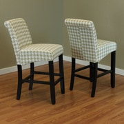 Monsoon Pacific Milan Houndstooth 26'' Bar Stool (Set of 2); Moss Green