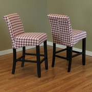 Monsoon Pacific Milan Houndstooth 26'' Bar Stool (Set of 2); Red