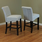 Monsoon Pacific Milan Houndstooth 26'' Bar Stool (Set of 2); Arctic Blue