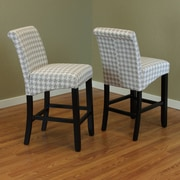 Monsoon Pacific Milan Houndstooth 26'' Bar Stool (Set of 2); Harbor Gray