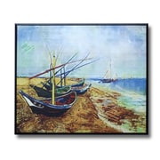 Wellyer ''Fishing Boats on the Beach'' by Vincent Van Gogh Framed Painting Print