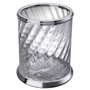 Windisch by Nameeks Spiral O2.16 Gallon Twisted Glass Trash Can; Chrome