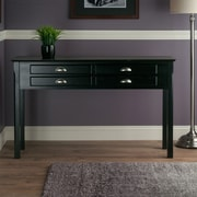 """Winsome Timber 29.1"""" x 47.6"""" x 15.7"""" Solid Beech Wood Hall/Console Table, Black"""