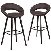 Flash Furniture Kelsey Series 29'' High Brown Vinyl Barstool with Wood Frame, Set of 2(2-CH-152550-BRN-VY-GG)