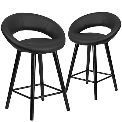 Flash Furniture Kelsey Series 24'' High Black Vinyl Counter Height Stool with Wood Frame, Set of 2 (2-CH-152551-BK-VY-GG)