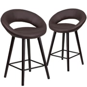 Flash Furniture Kelsey Series 24'' High Brown Vinyl Counter Height Stool with Wood Frame, Set of 2(2-CH-152551-BRN-VY-GG)