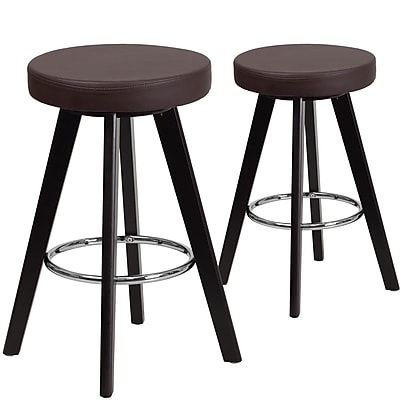Flash Furniture Trenton Series 24'' High Brown Vinyl Counter Height Stool with Wood Frame, Set of 2 (CH-152600-BRN-VY-GG)