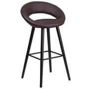Flash Furniture Kelsey Series 29'' High Contemporary Brown Vinyl Barstool with Cappuccino Wood Frame (CH-152550-BRN-VY-GG)