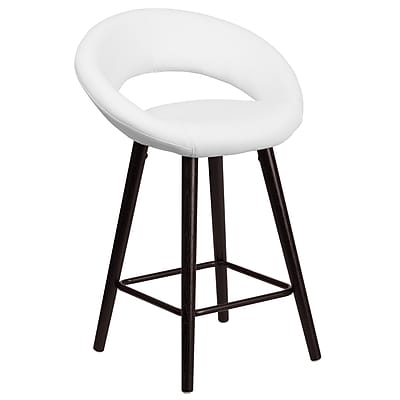 Flash Furniture Kelsey Series 24'' High Contemporary White Vinyl Counter Height Stool with Wood Frame (CH-152551-WH-VY-GG)