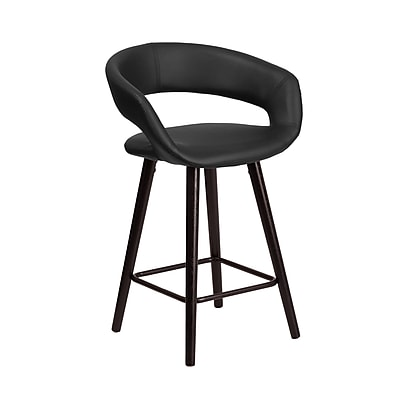 Flash Furniture Brynn Series 24'' High Contemporary Black Vinyl Counter Height Stool with Wood Frame (CH-152561-BK-VY-GG)