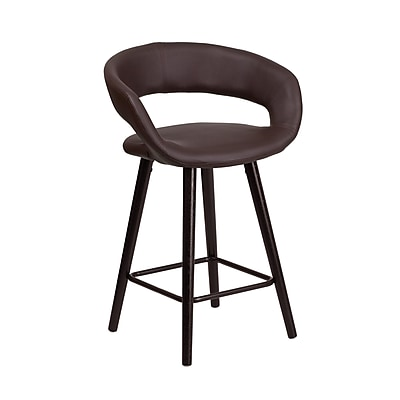 Flash Furniture Brynn Series 24'' High Contemporary Brown Vinyl Counter Height Stool with Wood Frame (CH-152561-BRN-VY-GG)