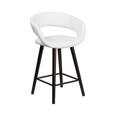 Flash Furniture Brynn Series 24'' High Contemporary White Vinyl Counter Height Stool with Wood Frame (CH-152561-WH-VY-GG)