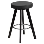 Flash Furniture Trenton Series 24'' High Contemporary Black Vinyl Counter Height Stool with Wood Frame (CH-152600-BK-VY-GG)