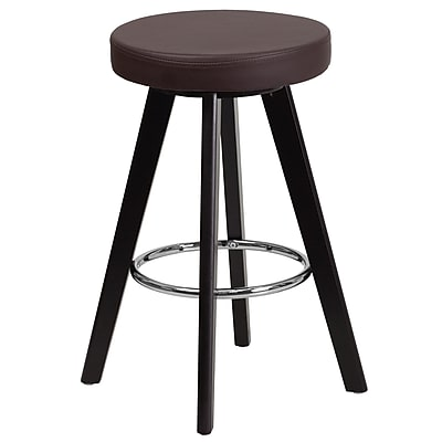 Flash Furniture Trenton Series 24'' High Contemporary Brown Vinyl Counter Height Stool with Wood Frame (CH-152600-BRN-VY-GG)