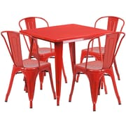 Flash Furniture 31.5'' Square Red Metal Indoor-Outdoor Table Set with 4 Stack Chairs (ET-CT002-4-30-RED-GG)