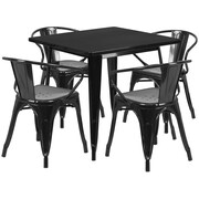 Flash Furniture 31.5'' Square Black Metal Indoor-Outdoor Table Set with 4 Arm Chairs (ET-CT002-4-70-BK-GG)