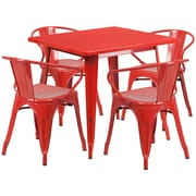 Flash Furniture 31.5'' Square Red Metal Indoor-Outdoor Table Set with 4 Arm Chairs (ET-CT002-4-70-RED-GG)