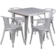 Flash Furniture 31.5'' Square Silver Metal Indoor-Outdoor Table Set with 4 Arm Chairs (ET-CT002-4-70-SIL-GG)