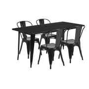 Flash Furniture 31.5'' x 63'' Rectangular Black Metal Indoor-Outdoor Table Set with 4 Stack Chairs (ET-CT005-4-30-BK-GG)