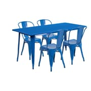Flash Furniture 31.5'' x 63'' Rectangular Blue Metal Indoor-Outdoor Table Set with 4 Stack Chairs (ET-CT005-4-30-BL-GG)