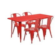 Flash Furniture 31.5'' x 63'' Rectangular Red Metal Indoor-Outdoor Table Set with 4 Stack Chairs (ET-CT005-4-30-RED-GG)