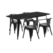 Flash Furniture 31.5'' x 63'' Rectangular Black Metal Indoor-Outdoor Table Set with 4 Arm Chairs (ET-CT005-4-70-BK-GG)