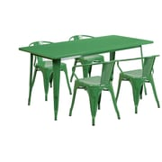 Flash Furniture 31.5'' x 63'' Rectangular Green Metal Indoor-Outdoor Table Set with 4 Arm Chairs (ET-CT005-4-70-GN-GG)
