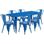 Flash Furniture 31.5'' x 63'' Rectangular Blue Metal Indoor-Outdoor Table Set with 6 Stack Chairs (ET-CT005-6-30-BL-GG)