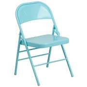 Flash Furniture HERCULES COLORBURST Series Tantalizing Teal Triple Braced & Double Hinged Metal Folding Chair (HF3 TEAL GG)