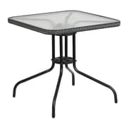Flash Furniture 28'' Square Tempered Glass Metal Table with Gray Rattan Edging (TLH-073R-GY-GG)