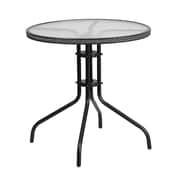 Flash Furniture 28'' Round Tempered Glass Metal Table with Gray Rattan Edging (TLH-087-GY-GG)