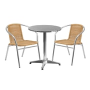 Flash Furniture 23.5'' Round Aluminum Indoor-Outdoor Table with 2 Beige Rattan Chairs (TLH-ALUM-24RD-020BGECHR2-GG)