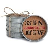 Occasionally Made Coordinates Mason Jar Lid Coaster Stack; Lubbock, TX