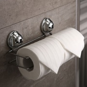 FECA Wall Mounted Double Roll Stainless Steel Toilet Paper Holder w/ No Drill Powerful Suction Cup