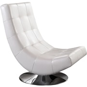 WorldWide HomeFurnishings Swivel Tufted Accent Chair; White